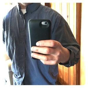 Navy and gray tight Plaid casual shirt